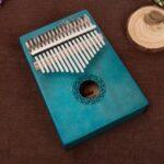17 Keys Mahogany Kalimba Thumb Piano Acoustic Finger Piano Music Instrument Wood Kids Learning Educational Toy – Blue//European Decorative Pattern