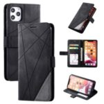 Color Splicing Wallet Stand Leather Mobile Cover for iPhone 11 Pro Max 6.5 inch – Black