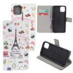 Pattern Printing Leather Wallet Case for iPhone 12 5.4 inch – Eiffel Tower