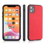 Litchi Texture Genuine Leather Coated PC + TPU Combo Shell for iPhone 12 Max/12 Pro 6.1 inch – Red