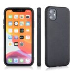 Genuine Leather Coated PC + TPU Hybrid Cover for iPhone 12 5.4-inch – Black