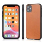 Genuine Leather Coated PC + TPU Hybrid Cover for iPhone 12 5.4-inch – Brown