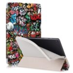 Pattern Printing Tri-fold Stand Leather Smart Case with Pen Slot for Samsung Galaxy Tab S6 Lite 10.4 P610 – Cartoon Graffiti