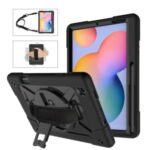 360° Swivel Handy Strap Kickstand PC Silicone Hybrid Tablet Case with Shoulder Strap for Samsung Galaxy Tab S6 Lite – Black