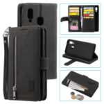 Zipper Pocket 9 Card Slots Leather Wallet Case for Samsung Galaxy A20e – Black
