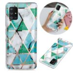 Marble Pattern Electroplating IMD TPU Phone Shell for Samsung Galaxy A51 5G SM-A516 – White/Cyan