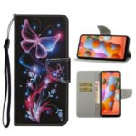 Pattern Printing Flip Leather Cover Wallet Stand Shell for Samsung Galaxy A21 – Magic Butterfly
