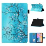 Pattern Printing Leather Card Holder Stand Tablet Protective Shell for Samsung Galaxy Tab S6 Lite P610 P615 – Flower Branch