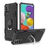 Rotatable Finger Ring Kickstand PC + TPU Hybrid Case for Samsung Galaxy A51 SM-A515 – Black