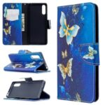 Pattern Printing Case Wallet Stand Leather Cover for Sony Xperia L4 – Blue and Gold Butterfly