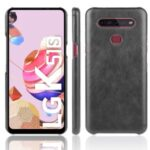 Litchi Skin Leather Coated PC Phone Back Shell for LG K51S – Black