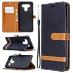 Color Splicing Jeans Cloth Skin Wallet Leather Phone Shell for LG K51 – Black