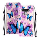 Embossed Patterned Wallet Leather Phone Cover with Strap for LG Stylo 6 – Blue Butterflies