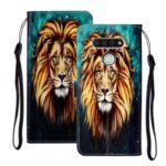 Embossed Patterned Wallet Leather Phone Shell with Strap for LG K51 – Lion