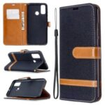 Assorted Color Jeans Cloth Leather Cover for Huawei P smart 2020 – Black