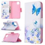 Pattern Printing Wallet Stand Flip Leather Phone Shell for Huawei Y5p / Honor 9S – Blue Butterfly