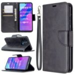 PU Leather Unique Wallet Cover with Strap for Honor 9A – Black
