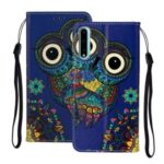 Embossed Patterned Wallet Leather Protective Case with Strap for Huawei Y8p – Owl