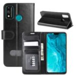 Crazy Horse Wallet Stand Leather Case Accessory for Honor 9X Lite – Black