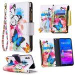 Pattern Printing Zipper Pocket Leather Wallet Stand Case for Huawei Y6 (2019, with Fingerprint Sensor)/Y6 Prime (2019) – Vivid Butterflies