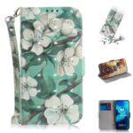 Pattern Printing Light Spot Decor PU Leather Wallet Case for Motorola Moto G8 Power Lite – Flower
