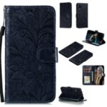 Imprint Lace Flower Wallet Leather Stand Case for Samsung Galaxy Xcover Pro – Black