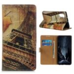 Pattern Printing Leather Wallet Case for Motorola Edge – Maple Leaves and Eiffel Tower