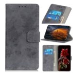 Vintage Style Leather Wallet Phone Case with Stand Shell for Motorola Edge – Grey