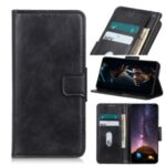 Crazy Horse Leather Cover Stand Wallet Protective Case for Motorola Moto G8 – Black