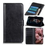 Crazy Horse Leather Wallet Phone Case for Motorola Moto One Fusion – Black