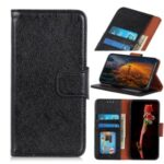 Nappa Texture Split Leather Wallet Phone Cover for Motorola Moto One Fusion – Black