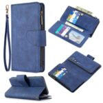 Zipper Pocket Detachable 2-in-1 Leather Shell Wallet Stand Case for Xiaomi Mi CC9 Pro/Note 10/Note 10 Pro – Blue