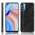 Hybrid Case PU Leather Coated PC + TPU Mobile Cover for Oppo Reno4 5G – Black