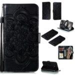 Imprint Surface Unique Mandala Flower Leather Case for Nokia 1.3 – Black