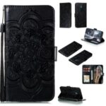 Imprint Mandala Flower PU Leather Mobile Phone Shell for Nokia 5.3 – Black
