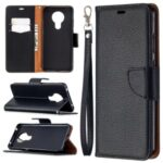 Litchi Skin Wallet Leather Stylish Shell for Nokia 5.3 – Black
