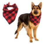 LEMONDA Dog Bandana Plaid Pet Bandana Scarf Triangle Bib Kerchief, Size: 55 x 38 x 38cm