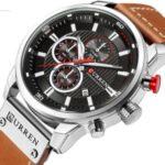 CURREN Men's Fashionable Watch 6-Pin Quartz Watch Leather Strap Automatic Date Indicator Watch – White/Black