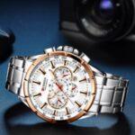 CURREN M8363 Multi-function Waterproof Men Quartz Watch Stainless Steel Strap Bussiness Style Men Wristwatch – Silver/Gold