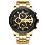 CURREN Waterproof Men Quartz Watch Stainless Steel Strap Multi-function Men Wristwatch – Gold