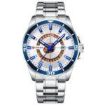 CURREN M8359 Bussiness Style Waterproof Men Quartz Watch Stainless Steel Strap Luminous Wristwatch – Silver/Blue