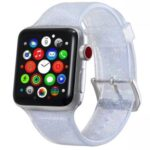 Flash Powder Silicone Watch Strap Replacement for Apple Watch Series 5/4 44mm, Series 3/2/1 42mm – Silver