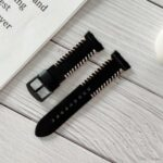 Genuine Leather Stitching Decor Smart Watch Band for OPPO Watch 46mm – Black