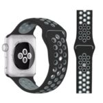 Dual Color Smart Watch Strap Silicone Replace Band for Apple Watch Series 5/4 40mm, Series 3/2/1 38mm – Black/Grey