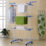 3-layer Folding Airer Portable Practical Clothes Dryer Drier Large Airer Blue Household Drying Rack – Blue