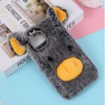 Pig Shaped Fur Coated Soft TPU Phone Case Cover for Apple iPhone 12 Max 6.1 inch – Black