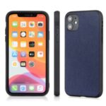 Cross Texture Genuine Leather Coated PC + TPU Phone Case for iPhone 12 Max / iPhone 12 Pro 6.1-inch – Blue