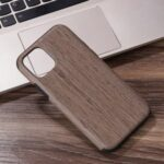 Wood Texture PU Leather Coated Flexible TPU Phone Cover for iPhone 12 Pro Max 6.7 inch – Grey