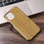 Wood Texture PU Leather Coated Flexible TPU Phone Case for iPhone 12 Pro/12 Max 6.1 inch – Khaki