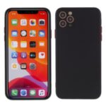 Contrast Color Button TPU Cell Phone Case with Soft Lint Inner for iPhone 12 Pro Max 6.7 inch – Black